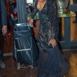 Custom Made Dresses - Black Sheer Embellished Gown / Prom Dress